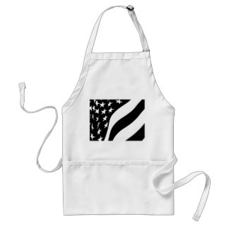 Black and White Waving Stars and Stripes Adult Apron