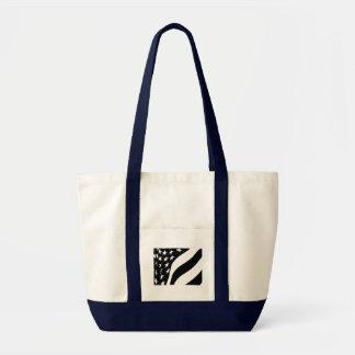 Black and White Waving Stars and Stripes Tote Bag