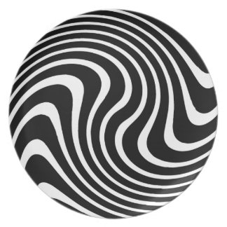 Black and White Wavy Abstract Melamine Plate