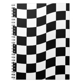 Black and White Wavy Check Design Spiral Note Book