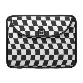 Black and White Wavy Check Design Sleeve For MacBooks