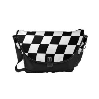 Black and White Wavy Check Design Small Messenger Bag