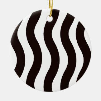 Black and White Wavy Stripes Ceramic Ornament