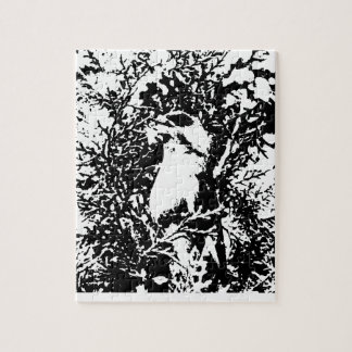 black and white waxwing graphic jigsaw puzzle