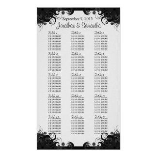 Black and White Wedding 15 Tables Seating Charts Poster