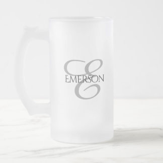 Black and White Wedding Bridal Party Keepsake Frosted Glass Beer Mug
