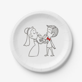 Black And White Wedding Bride And Groom Paper Plate