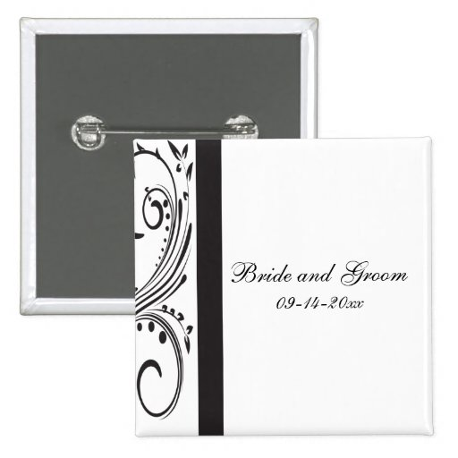 Black and White Wedding Button