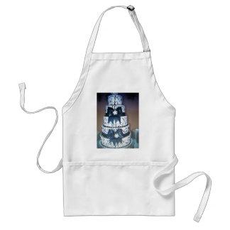 black and white wedding cake apron