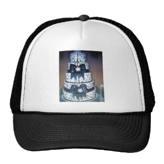 black and white wedding cake hat