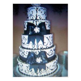 black and white wedding cake postcard