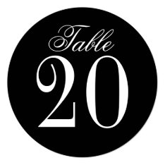 Black And White Wedding Circle Table Number Card at Zazzle