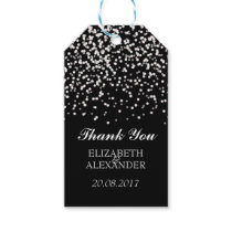 Black and White Wedding Confetti Pattern Gift Tags