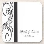 Black and White Wedding Cork Coasters