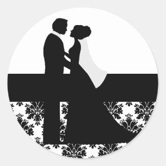 Black and White Wedding Couple Seals Classic Round Sticker