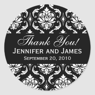 Black and White Wedding Damask Thank You Label