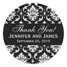 Black and White Wedding Damask Thank You Label Sticker