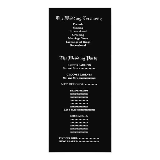 Black and White Wedding Damask Wedding Program Invite