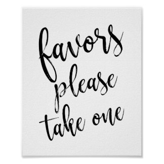 Black and White Wedding Favors 8x10 Sign