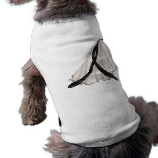 Black and White Wedding Gown Doggie Tshirt