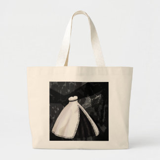 Black and White Wedding Gown Large Tote Bag