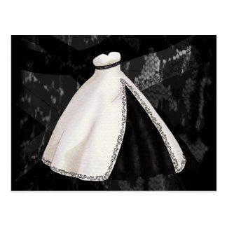 Black and White Wedding Gown Postcard