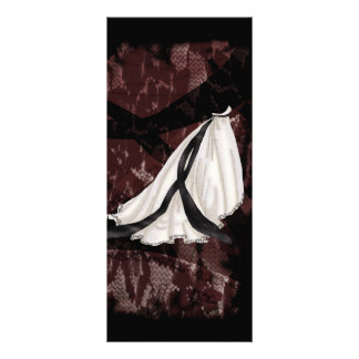 Black and White Wedding Gown Rack Card