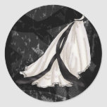 Black and White Wedding Gown Round Stickers