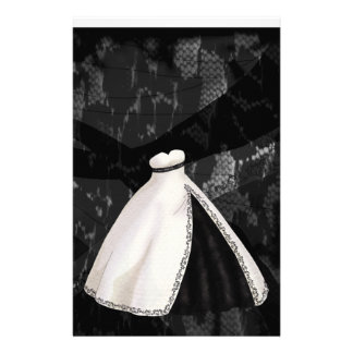 Black and White Wedding Gown Stationery