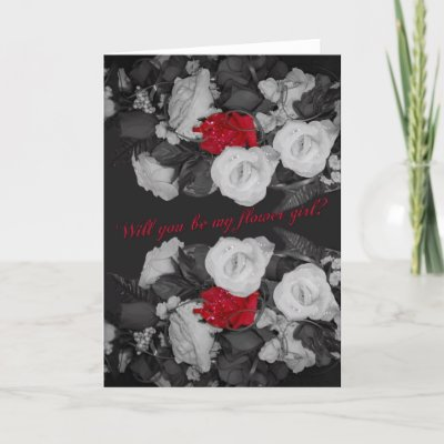 Black and white wedding invitation for flower girl card by moonlake