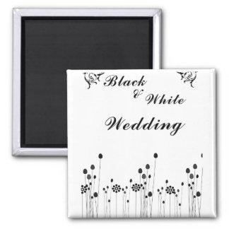 black and white wedding invitation refrigerator magnets