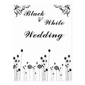 black and white wedding invitation postcard