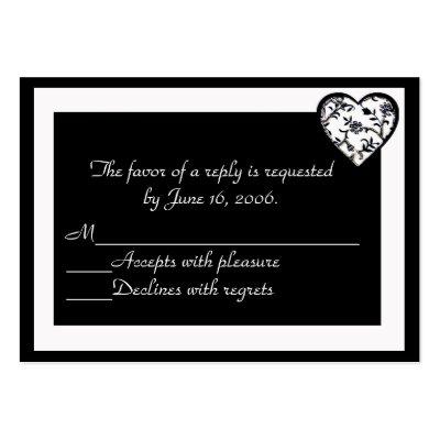 Black and White Wedding Invitation Response Card