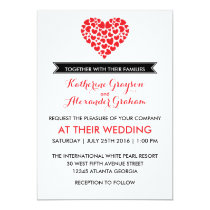 Black and White Wedding Invitation with Red Heart
