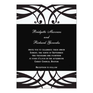 Black and White  Wedding Invitations Art Deco