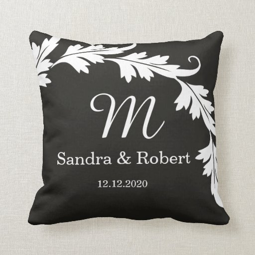 Black And White Wedding Keepsake Monogrammed Throw Pillow