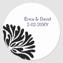 black and white wedding ,label classic round sticker