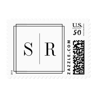 Black and White Wedding Monogram Postage