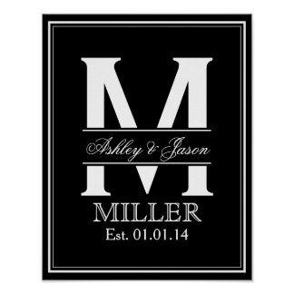 Black and White Wedding Monogram Poster