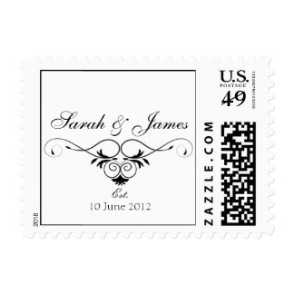 Black and White Wedding Names Date Postage Stamp