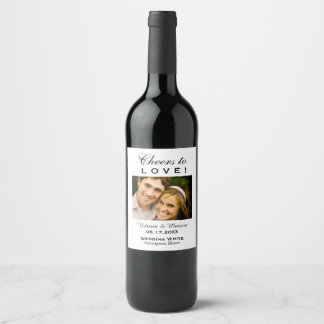 Black and White Wedding Photo Wine Bottle Favor Wine Label