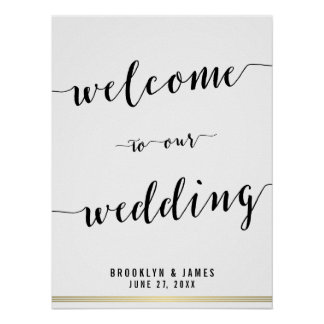 Black And White Wedding Reception Sign Gold 18x24