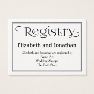Black and White Wedding Registry Card