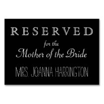 Black and White Wedding Reserved Sign Table Number