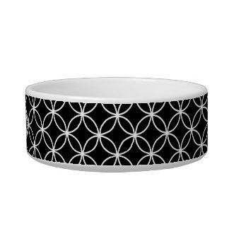Black and White Wedding Ring Pattern Monogram Cat Water Bowls