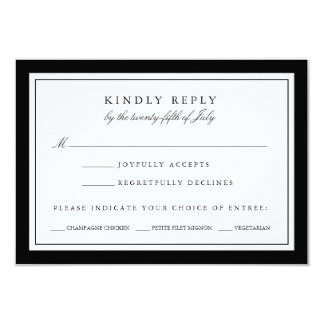 Black and White Wedding RSVP Card w/ Meal Choice