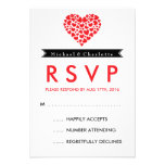 Black and White Wedding RSVP Card with Red Heart