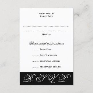 Black and White Wedding RSVP Menu Cards
