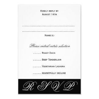 Black and White Wedding RSVP Menu Cards