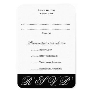 "Black and White Wedding RSVP Menu Cards 3.5"" X 5"" Invitation Card"